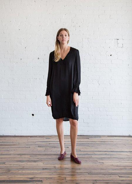 Raquel Allegra Ruffle Sleeve V Neck Dress Black