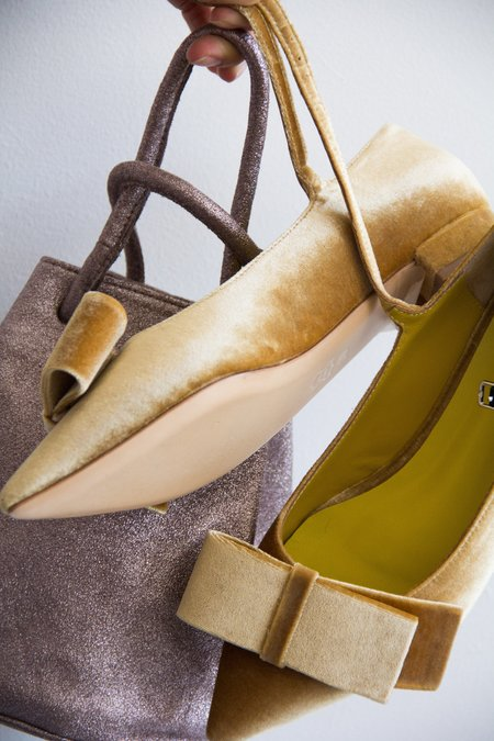 Vanessa Tao velvet bow pointed-toe flat