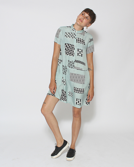 Dusen Dusen Oversized Tee Dress in Cupro Tile
