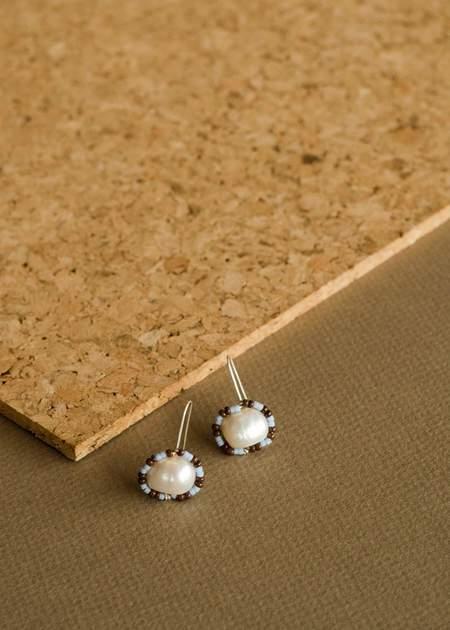Zelda Murray Pearl Earrings - Brown/Blue
