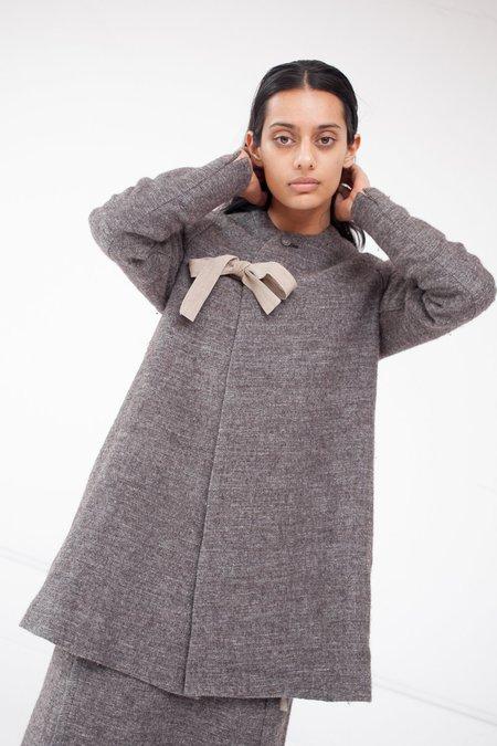 Cosmic Wonder Shetland Wool and Linen Folk Jacket in Brown