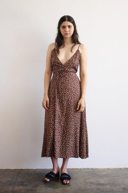 Ali Golden Brown Polka Dot Wrap Dress