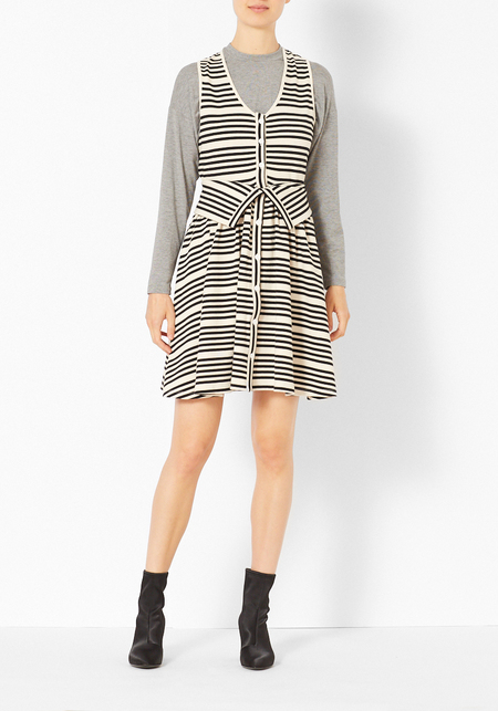 Opening Ceremony Breton Striped Dress - Cream/Black