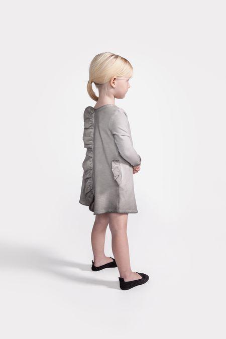 Kid's OMAMImini A-line dress w/ back and pockets ruffles vintage grey