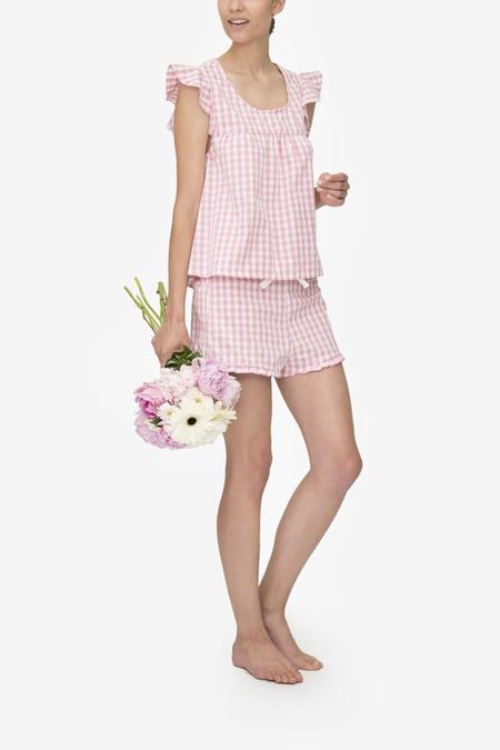 Monika Hibbs x The Sleep Shirt Ruffle Short Rosy Gingham
