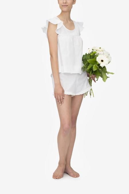 Monika Hibbs x The Sleep Shirt Flounce Top White Linen Blend