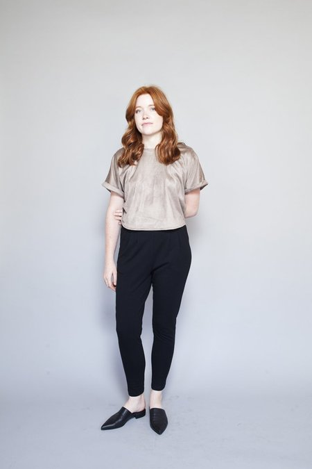 Sara Duke Your Favourite Shirt Crop - Taupe Suede
