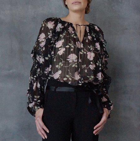 Ulla Johnson Azalea Noir Long Sleeve Blouse