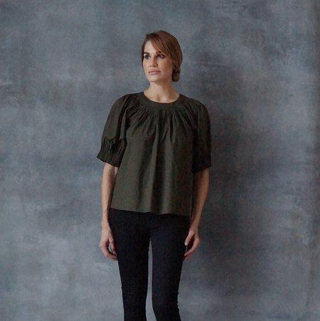 Ulla Johnson Lennie Poplin Army Green Blouse