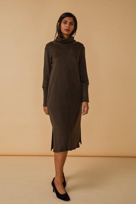 Wolcott : Takemoto Palmer Turtleneck Dress in Clove Fuzzy Knit