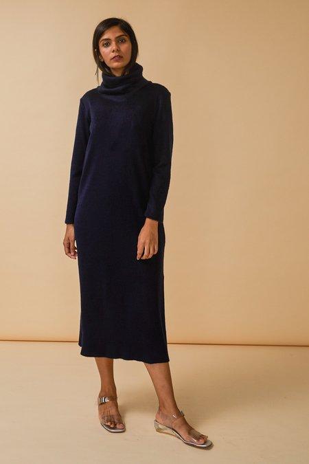 Wolcott : Takemoto Palmer Turtleneck Dress in Navy Fuzzy Knit