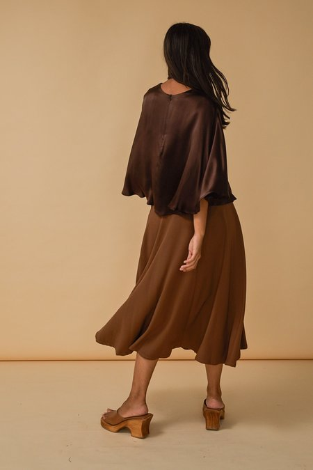 Wolcott : Takemoto Shadow Skirt in Camel Georgette