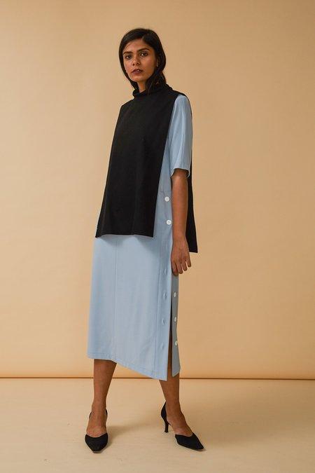 Wolcott : Takemoto Yuji Dicky Top in Black Merino Wool Flannel