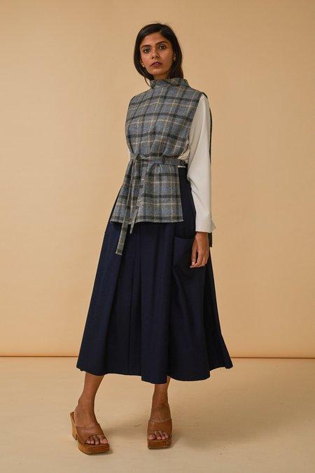 Wolcott : Takemoto Yuji Dicky Top in Grey Plaid Merino Wool
