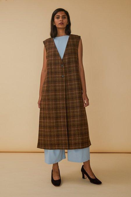 Wolcott : Takemoto Yukio Vest in Camel Plaid Merino Wool