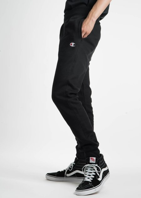 "Champion Reverse Weave Black Slim Pants with Pocket ""C"" Logo"