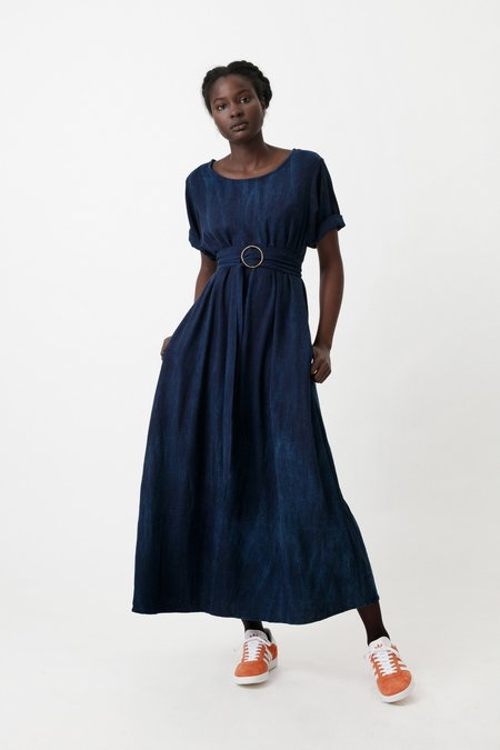 Osei-Duro Nonna Dress in Natural Indigo
