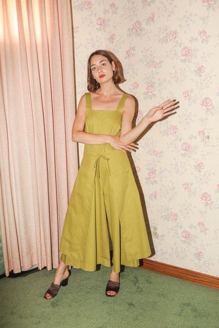 Wolcott : Takemoto Carol Jumpsuit in Lime Cotton Twill