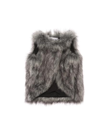 Kid's OMAMImini Faux Fur Vest Pink Husky Grey