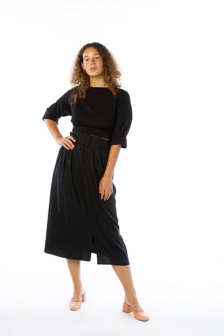 Miranda Bennett Paper Bag Skirt, Silk Noil in Black