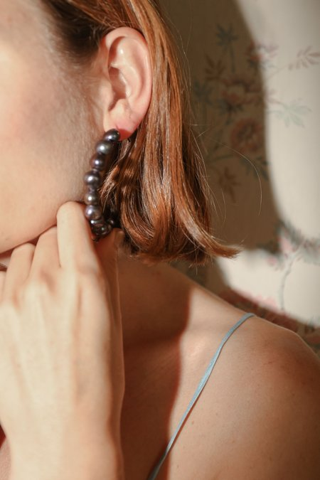 Trademark Grey Pearl Hoop Earrings