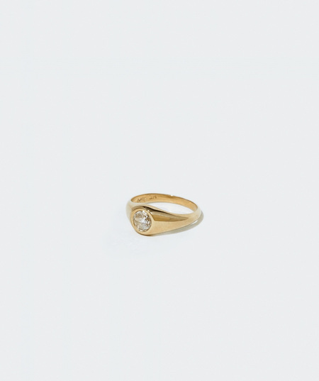 J. Hannah Demi Signet Ring with White Diamond