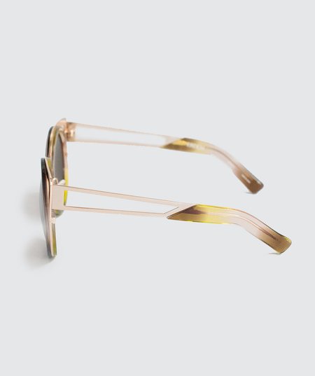 Erdem Round Cat Eye Sunglasses - Gold & Brown