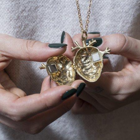 Justine Brooks Anatomical Heart Locket Necklace - Bronze