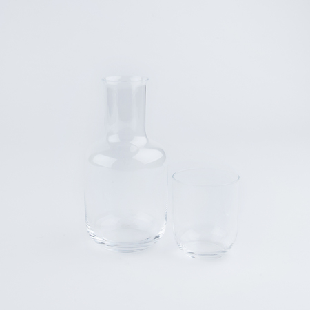 SAIKAI TOYO-SASAKI GLASS DECANTER & CUP SET IN CLEAR