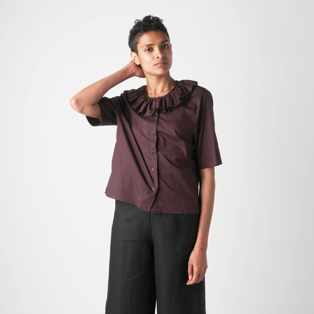MARGARET HOWELL Sheer Cotton Frill Collar Shirt in Carob
