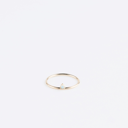WWAKE Shiny One Step Ring with Opal in 14K Yellow Gold