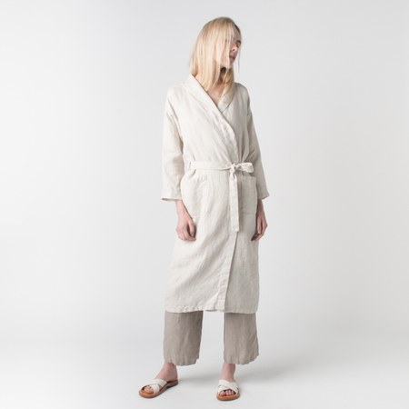 FOG LINEN WORK Mia Bath Robe in Natural