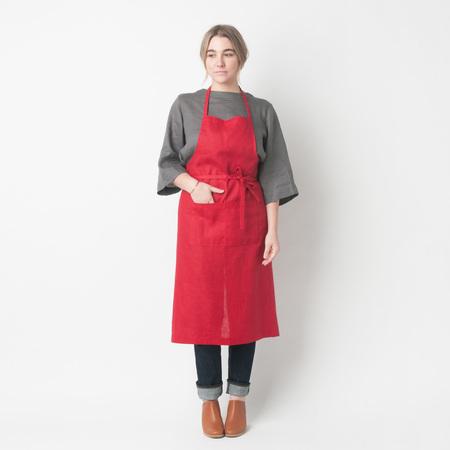 FOG LINEN WORK Linen Full Apron in Red