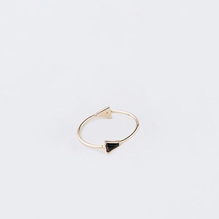MOCIUN Onyx and Black Diamonds Double Triangle Ring in 14K Yellow Gold