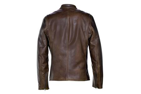 Schott Waxed Natural Pebbled Cowhide Cafe Leather Jacket - Brown