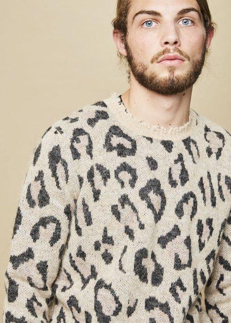 R13 Men's Leopard Crewneck Sweater