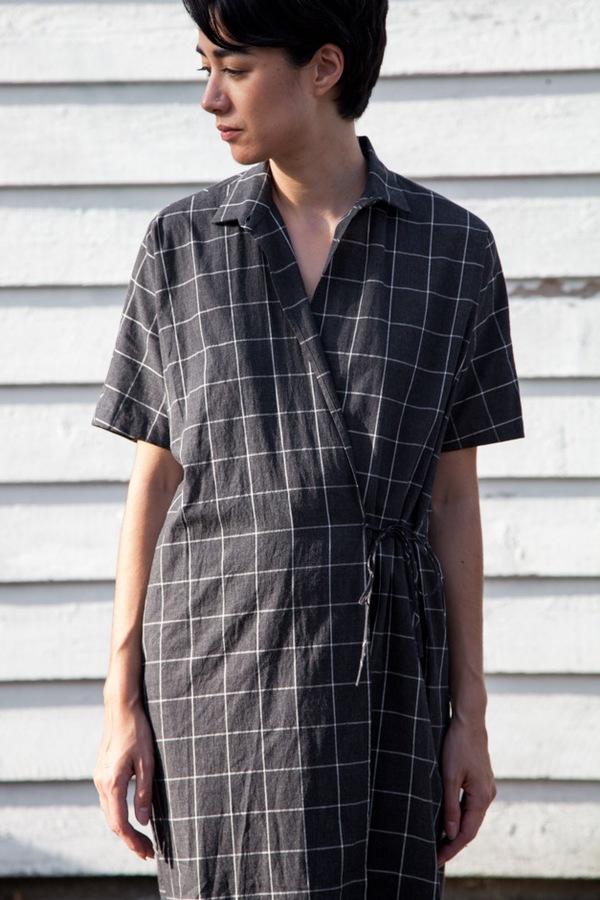 Assembly NY Twist Dress | charcoal plaid