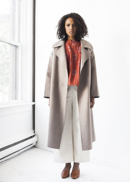 Achro Wool Blend Handmade Coat in Taupe