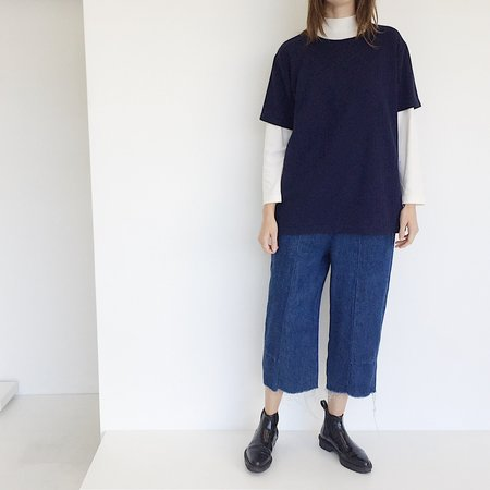 Johan Vintage Navy Ribbed Box T-shirt