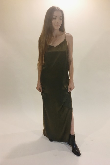 ganni sanders satin maxi dress