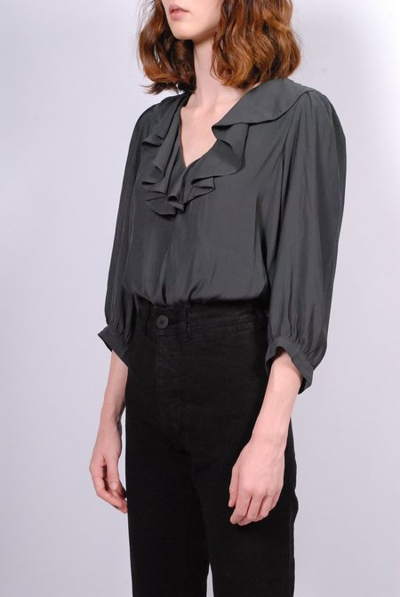 Smythe Over The Head Ruffle Blouse - Carbon
