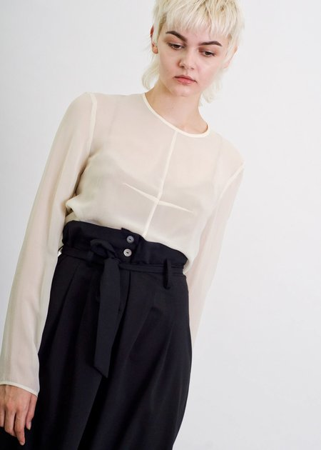 Penny Sage Lily Top - Ivory Georgette