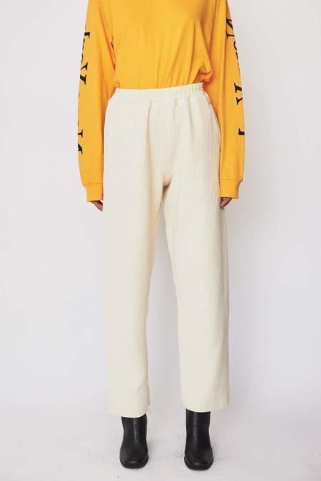 Black Crane Cotton Blend Dual Canvas Pants - Cream