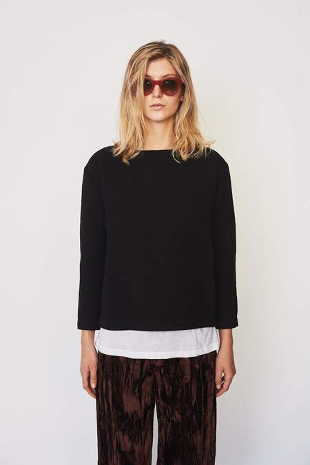 Black Crane Cotton Blend Pullover - Charcoal