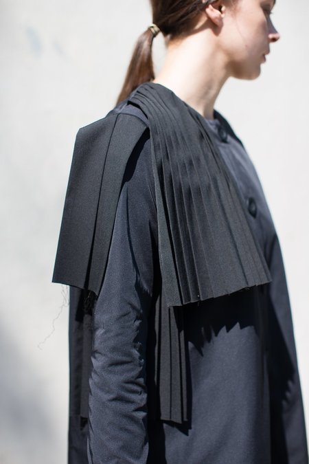 Nancy Stella Soto Pleated Gabardine Dress in Black