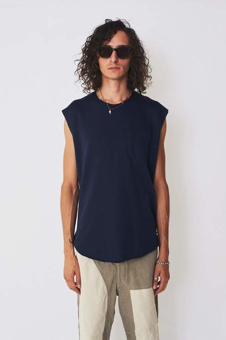 Assembly New York Cotton Terry Muscle Tee - Navy