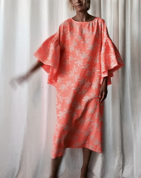 Oyster Dress - Neon Orange Brocade