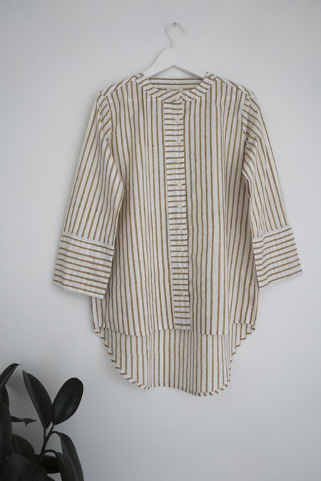 Karu Striped Boyfriend Shirt in Ochre