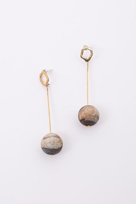 Modern Weaving Matte Jasper Sphere Earring in Brass