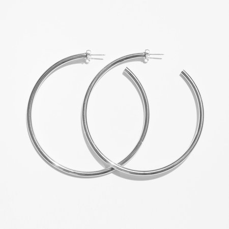 Laura Lombardi Silver XL Classic Hoop Earring
